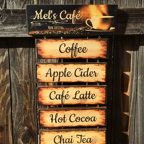 Coffee Bar Menu - Personalized Hanging Café Sign