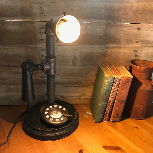 Steampunk Edison Lamp - Industrial Lighting - Rotary Dial Phone