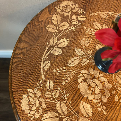 Oak Accent Table with Stenciled Roses