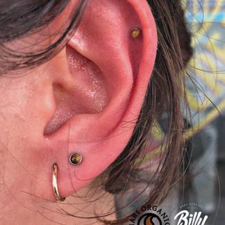 Upper lobe y helix piercings
