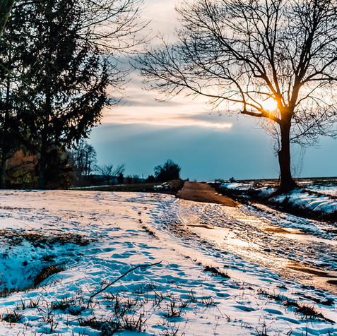 Winterlicher Weg in Unterfranken