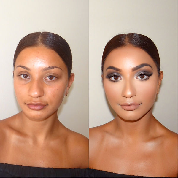 A beautiful Indian client takes a before and after photo following makeup from professinal makeup artist Selina Bassi, London.