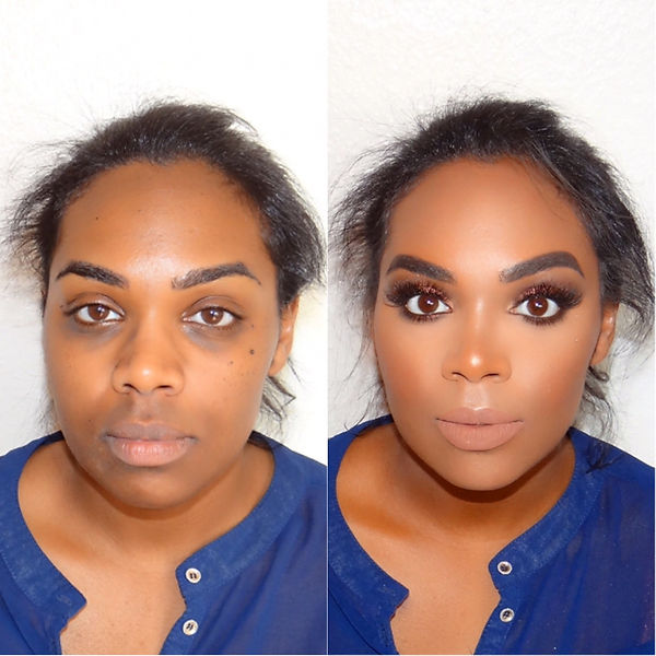 A before and after following the beautiful makeup from Selina Bassi.