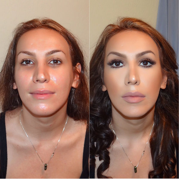 Essex based proessional makeup artist Selina Bass takes a before and after pictture of her beautiful client.