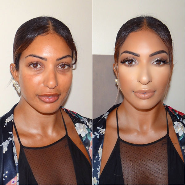 A client before and after they receive maeup from the celebrity makeupartist Selina Bassi.