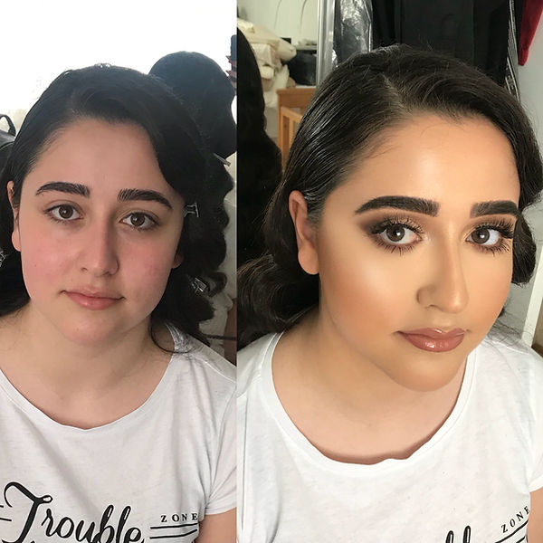 Professional makeup artist Selina Bassi takes a before an after photgraph of one of her clients.