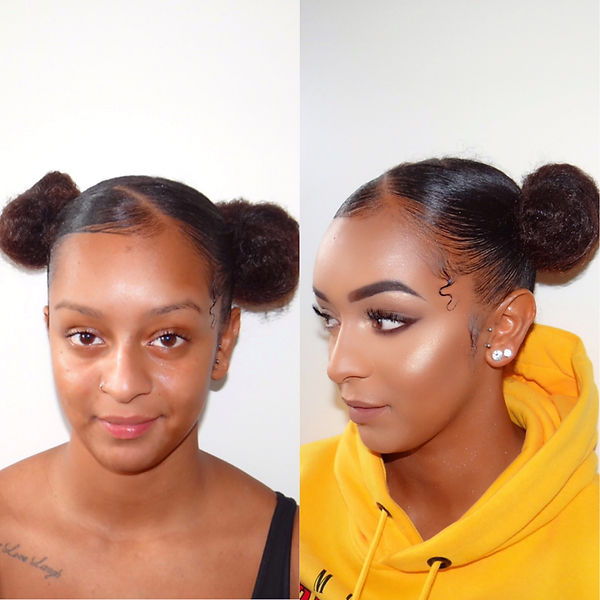 Before and afer makeup by professional makeup artist Selina Bassi.