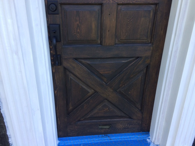 Stained pine door