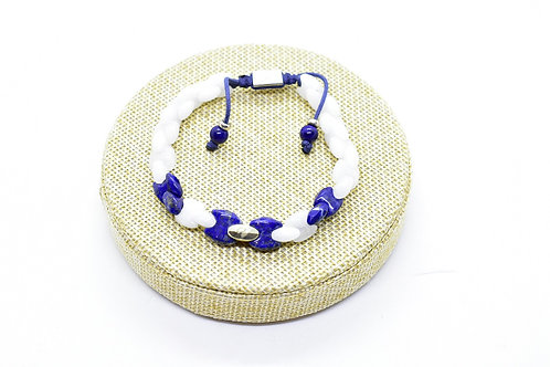 Quartzite & Lapis Lazuli Handcrafted Bracelet with Silver tone base metal parts