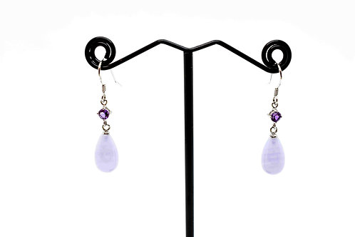 Natural Chalcedony and Amethyst drop Earrings with 925 Sterling Silver