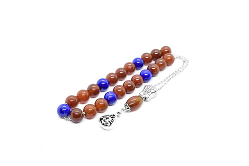 Greek Komboloi made of Red Jade & Sodalite Gemstones w/925 Sterling Silver