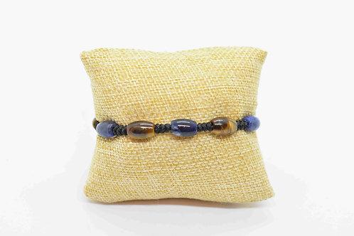 Sodalite & Tiger's Eye Natural Gemstones Hand Knotted Bracelet
