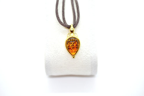 Hand Engraved Natural Amber Pendant, Gold Plated on 925 Sterling Silver Setting