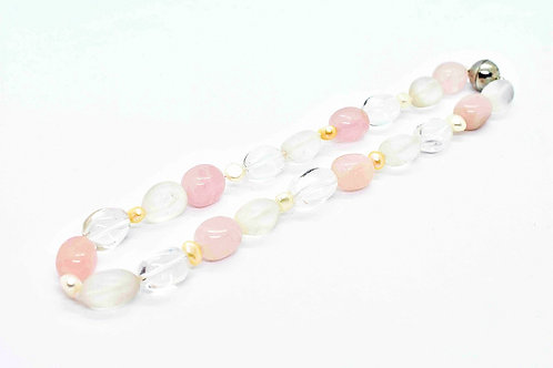 Handmade Necklace made of Rose Quartz with Rock Crystal, Pink & White Pearls