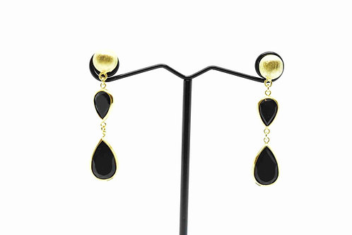 Drop Earrings Black Onyx on 18K Gold covered 925 Sterling Silver