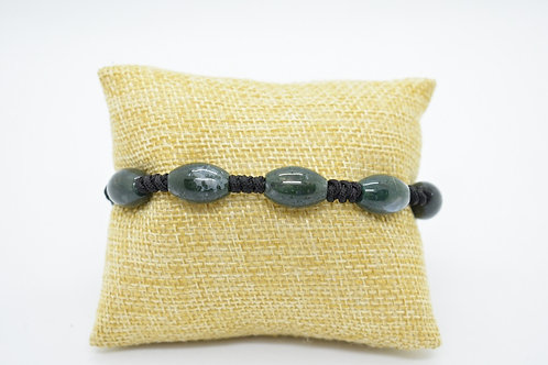 Green Agate Natural Gemstone Hand Knotted Unisex Bracelet