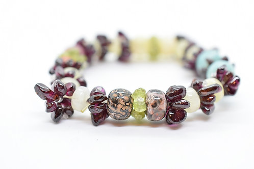 Multi-Color Natural Semi-Precious Stone Women's Bracelet