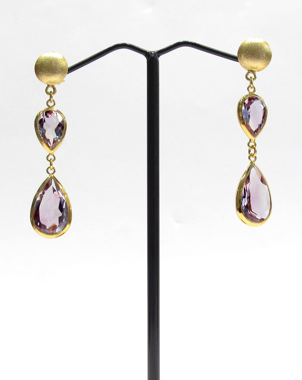 Faceted Amethyst earrings on 18k Gold covered Sterling Silver