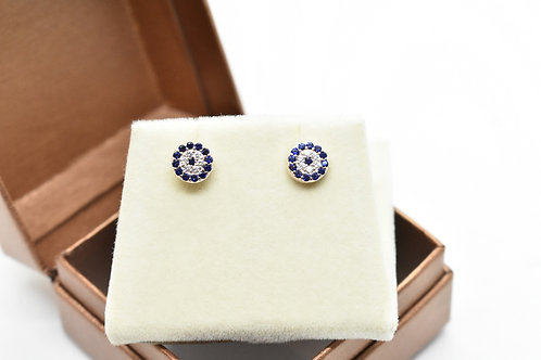gold earrings, round, zirconia crystal