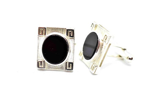 Custom Handmade Cufflinks with 925 Sterling Silver & Black Onyx Natural Gemstone