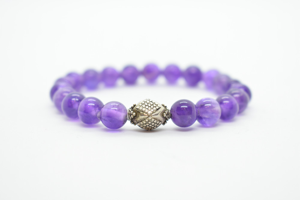 Round Amethyst beads, with 925 Sterling Silver Women's bracelet