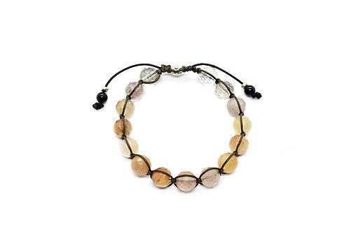 Routilated Quartz Natural Semi-precious stone, adjustable Bracelet