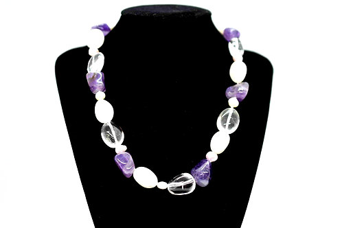 Handcrafted Necklace made of Amethyst & Rock Crystal, Pink and White Pearls