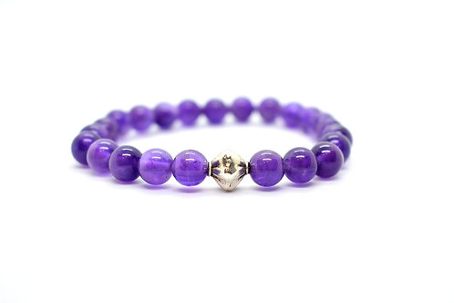 Natural Amethyst Gemstone Bracelet with Sterling Silver