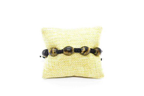 Tiger's Eye Natural Gemstone Hand Knotted Unisex Bracelet w/Silver parts
