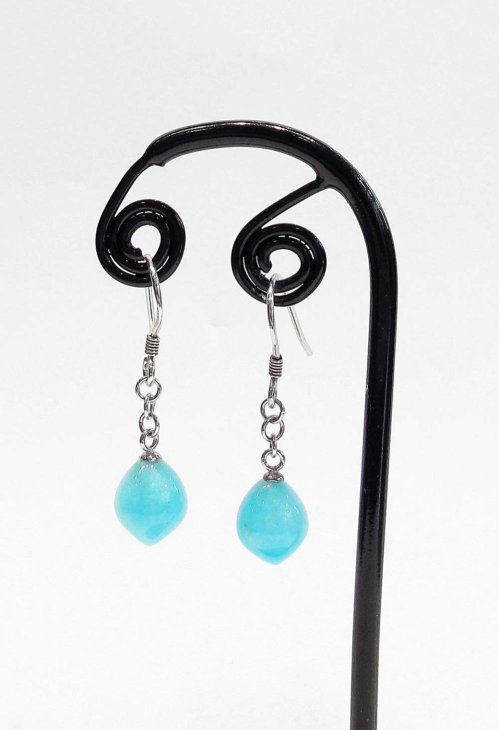 Amazonite drop Earrings w/925 Sterling Silver