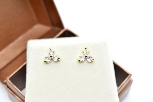 stud earrings made with 14k yellow gold, high quality crystals