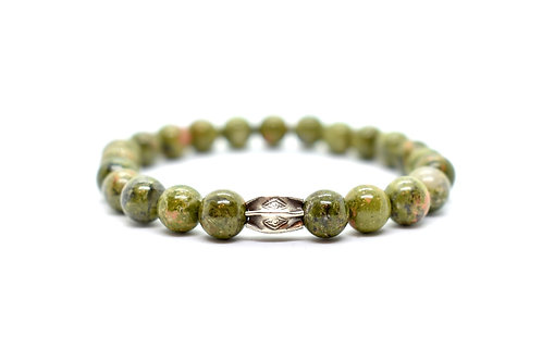 Unakite Unisex Bracelet with Sterling Silver