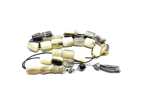 Medium Size, Handmade Greek Komboloi made of Buffalo Horn &925 Silver