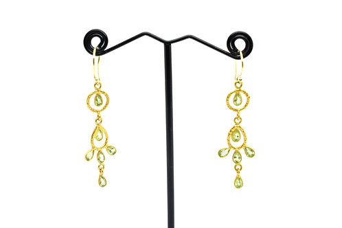 Drop Earrings made of Prehnite Semi-precious Stone w/18K Gold Plated Silver