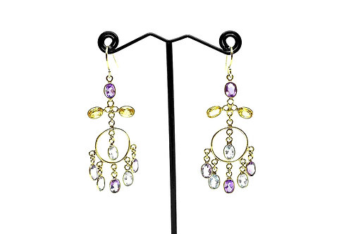 Earrings made of Amethyst, Citrine, & Aqua Topaz on 18K Gold covered Silver