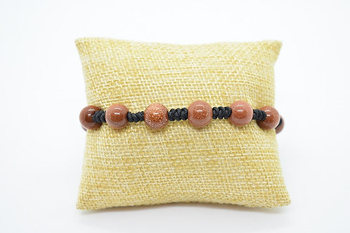 Hand Knotted Unisex Bracelet made of Brown Goldstone