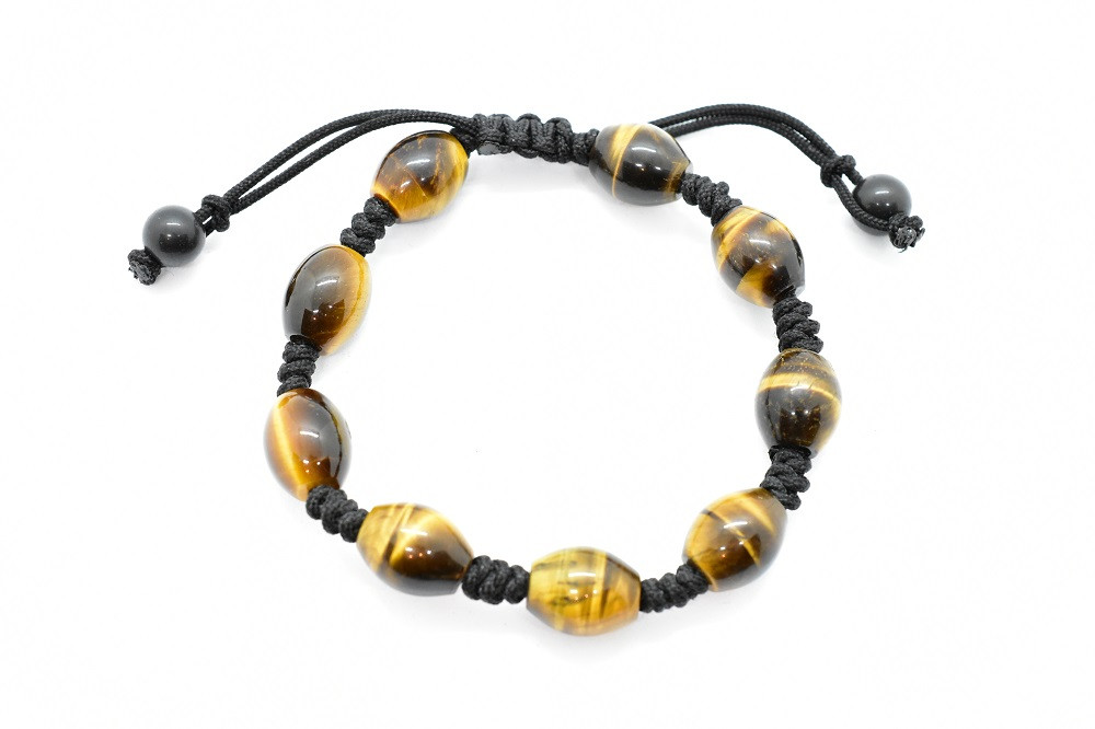 Tiger's Eye Natural Gemstone Hand Knotted Unisex Bracelet