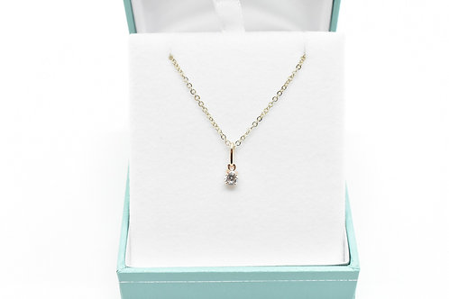 Cubic Zirconian Pendant, 14k Gold-Plated Sterling Silver Chain