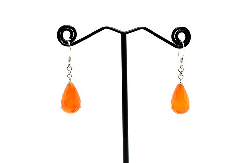 Carnelian Gemstone drop Earrings with 925 Sterling Silver
