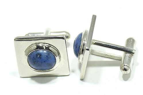 Custom Hand Made Cufflinks with 925 Sterling Silver & Sodalite Natural Gemstone