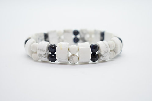 Hawlite & Black Onyx  Natural Semi Precious Stones Women's Bracelet