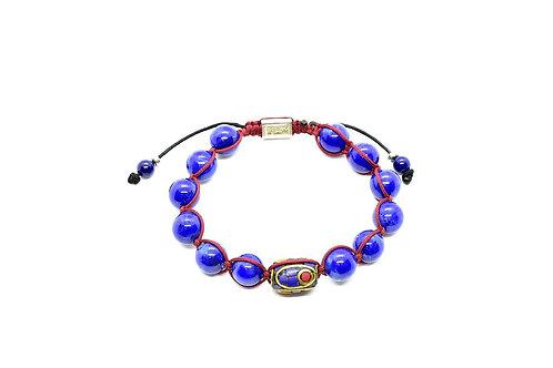 Lapis Lazuli Bracelet with Vintage Cloisonne bead, 14K Gold &  925 Silver