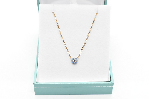 gold necklace with rose gold pendant & cubic zirconia