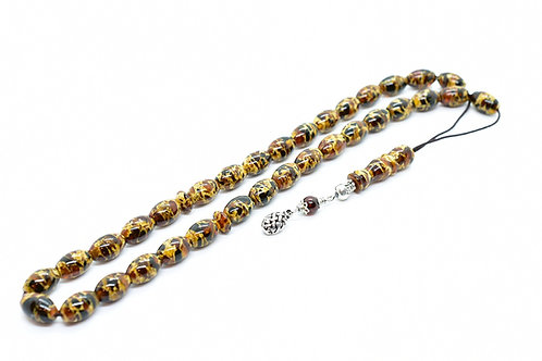 Unique Mosaic Amber Hand Crafted Worry Bead Set