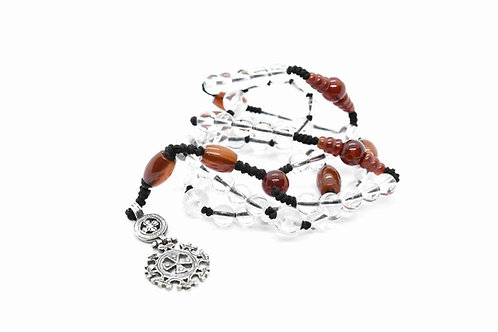 Rosario Necklace made of Rock Crystal, Carnelian, & Sterling Silver Cross
