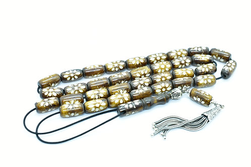 Tanned & Hand Engraved  Worry Bead set made of Natural Camel Bone