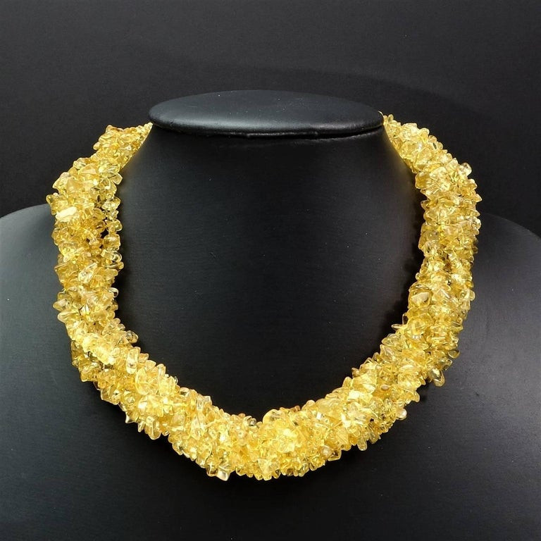 Citrine mini chips multi thread necklace