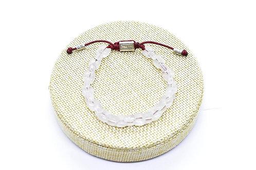 Quartz Crystal bracelet, with adjustable string & 925 Silver details