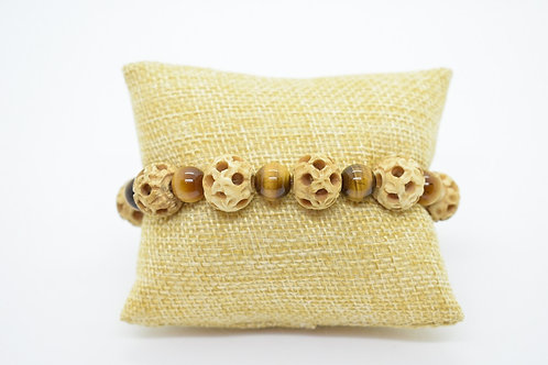 Tiger's Eye Natural Gemstone & Natural Bone, Handcrafted Unisex Brac