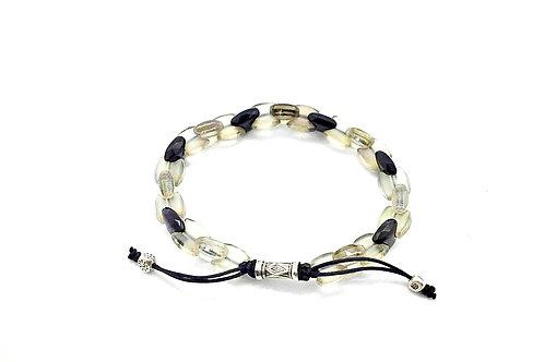 Smoky Quartz & Black Onyx Hand-Knotted Bracelet, w/ 925 Sterling Silver details